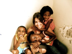 Reyes Rodrigues with the children