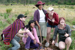 Volunteers and locals on the Andean Community Immersion program in Peru