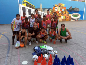 Afonso with his football students in Rio