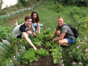 Environmental Volunteers at the community garden in Rio de Janeiro