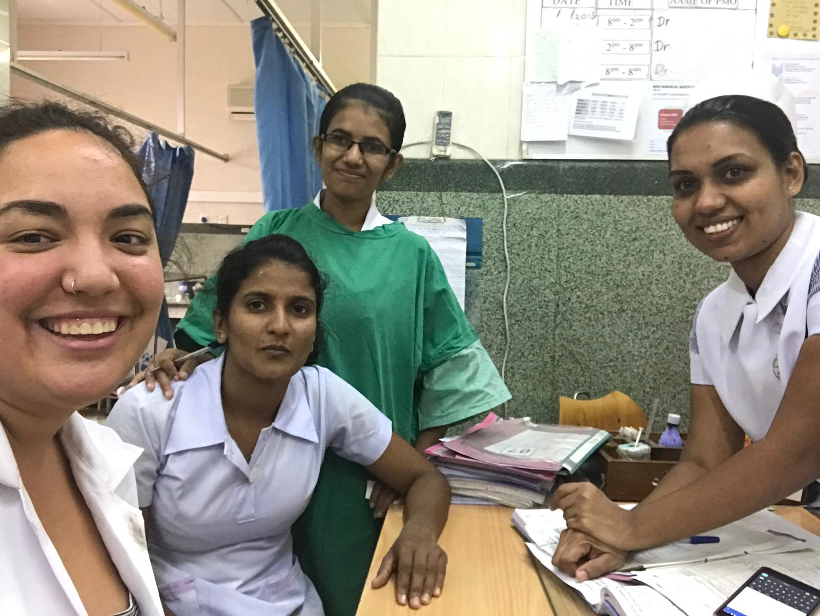 Medical student together with health professionals in one of our cheap volunteer programs in Sri Lanka
