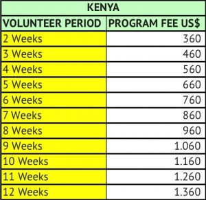 Volunteer in Kenya program fees