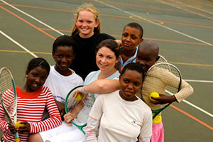 South Africa Sports Volunteer - Volunteers and children in our Sports project in South Africa