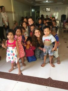Albane from France with the children in Cambodia