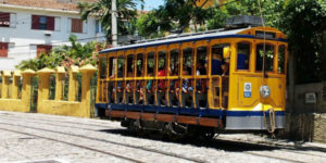 Old tram that still runs in Santa Teresa neighborhood where the accommodation of our cheap volunteer programs is Brazil is