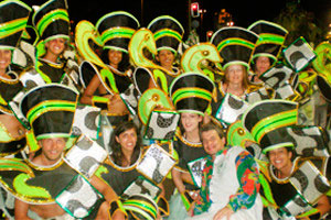 Volunteer in Brazil with the Carnival Preparation program ready to parade in Rio de Janeiro's Carnival