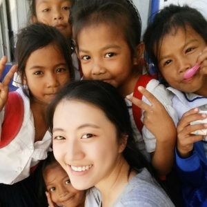 Volunteer in Cambodia with some children from the Teaching program