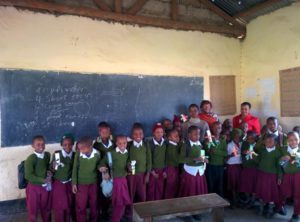 Yair with his class in Tanzania