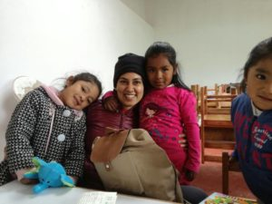 Sangeetha Agara, volunteer from Canada, sharing her love in a Childcare program in Cusco, Peru