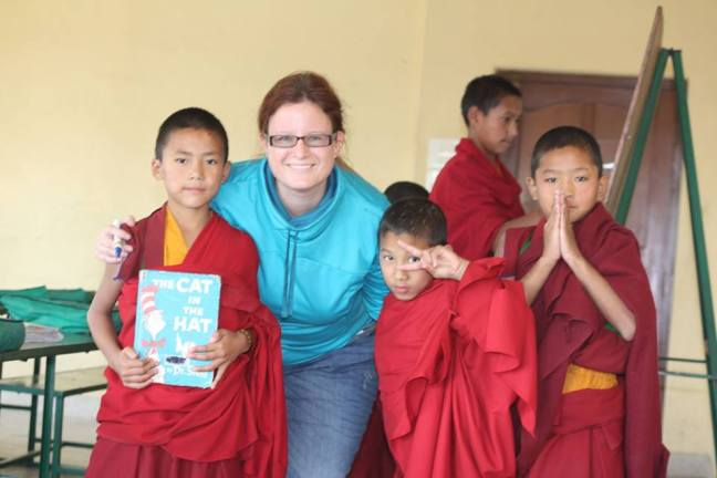 Zita Scederkenyi teaching English to the young monks