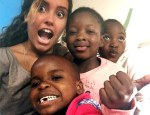 Sara Ferreira with the children at Doreen's Cràche in Cape Town