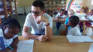 Stefan Nowacki teaching the children