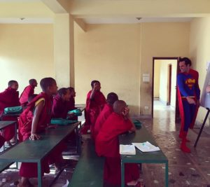 Super Man Teaching English in Nepal