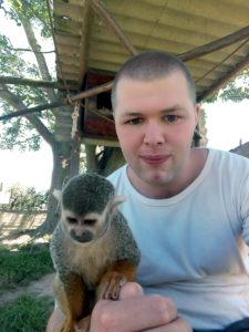 Gijs com os macacos Vervet