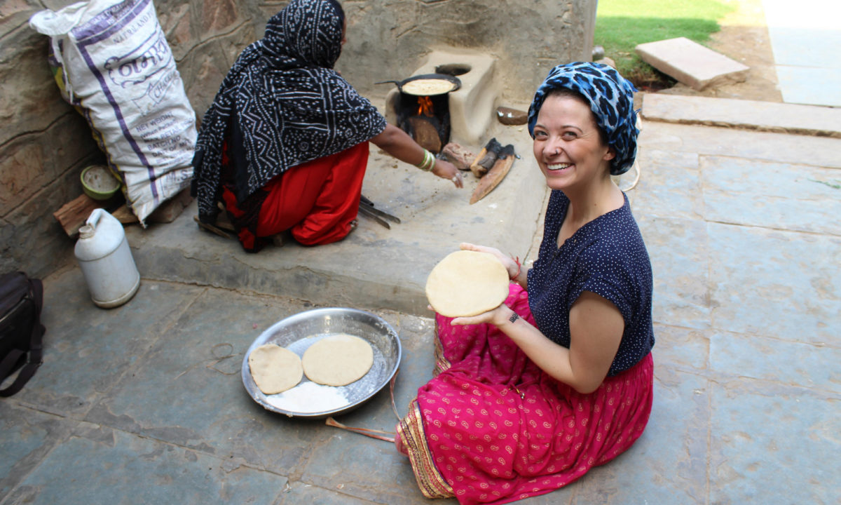 Odette making chapati for an elephant