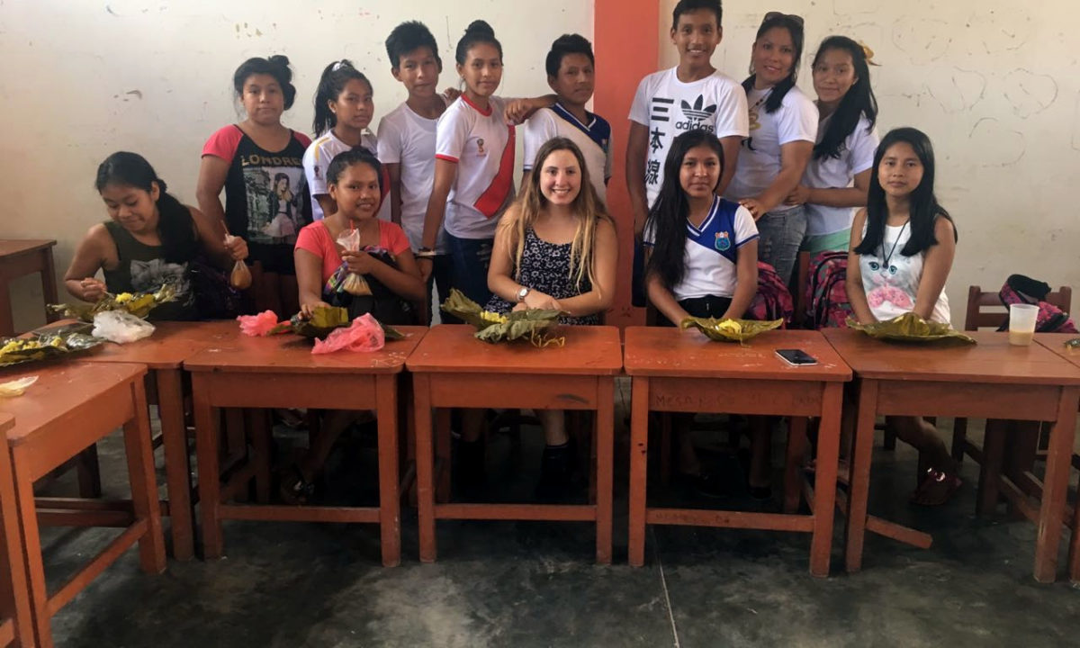 Gabriela with her students in the Class Room