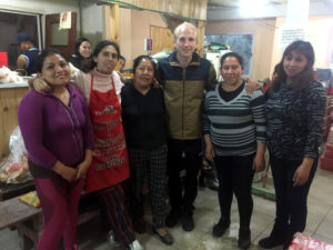 Adam Leese with Flor and the canteen team