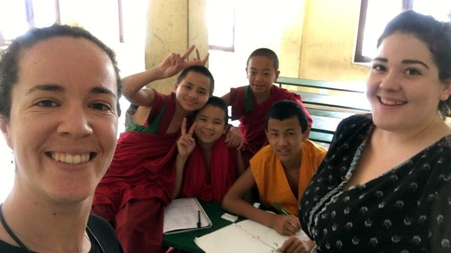 Filipa Pereira Portugal Natasha Smith USA Teaching English at the Buddhist Monastery