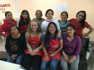 Lucy working with community feeding in Argentina