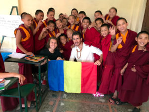 Luca Vlasceanu and Virgil Muneanu Romenia teaching young monks at a Buddhist Monastery