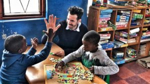 Jonas works with the children in South Africa at a daycare